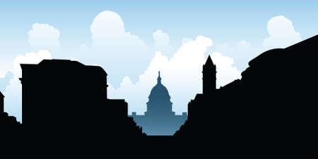 washington dc: Skyline silhouette of the city of Washington D.C., USA. Illustration