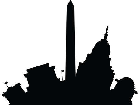 Cartoon skyline silhouette of the city of Washington D.C., USA.