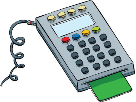 inserted: A cartoon debit card keypad with card inserted. Illustration
