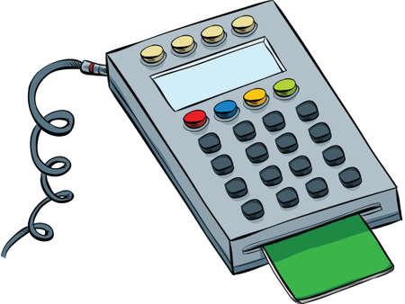 technology transaction: A cartoon debit card keypad with card inserted. Illustration