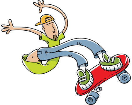 A young cartoon man does stunts on a skateboard.