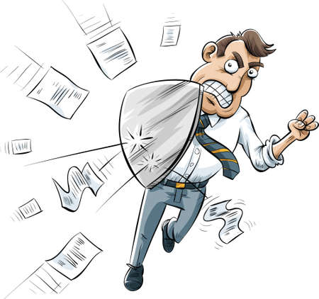A cartoon businessman uses a metal shield to defend against attacking documents.