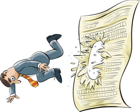 Een cartoon zakenman struikelt en valt door een groot document.
