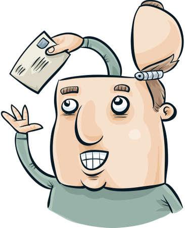 mail man: Un hombre de la historieta recibe un mensaje de correo de una mano dentro de su cabeza.