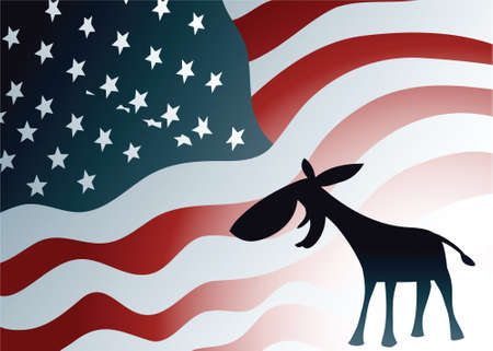 A silhouette Democratic donkey smiles in front of a US flag backdrop. Vector