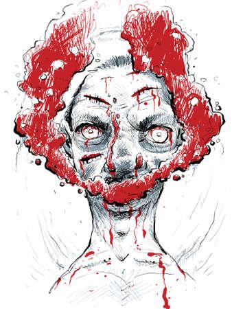 blood flow: Nuvole di flusso di sangue dalla bocca e malvagio demone.