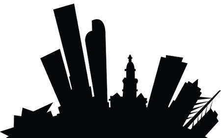 漫画のデンバー、コロラド州、アメリカ合衆国の都市のスカイライン シルエット。