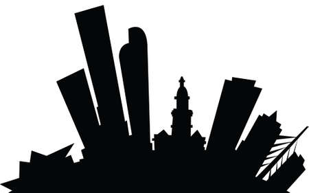 Cartoon skyline silhouette of the city of Denver, Colorado, USA.