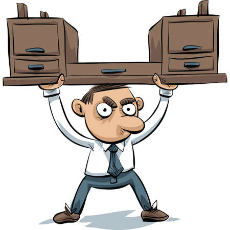 above head: A cartoon office worker lifts his desk above his head. Illustration