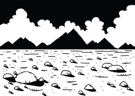 barren: Cartoon of a desolate, empty, rocky landscape.