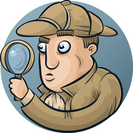 investigator: A classic cartoon detective, looking through his magnifying glass. Illustration