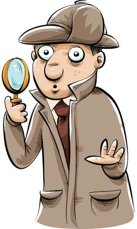 A classic cartoon detective, looking through his magnifying glass. Vector