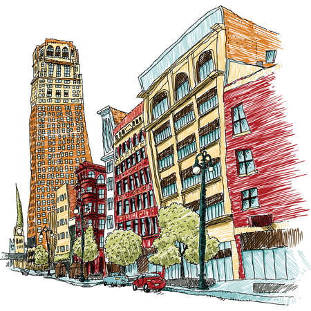 main street: Illustration of Woodward Avenue in Detroi, Michigan, USA.