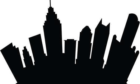 Cartoon skyline silhouette of the city of Detroit, Michigan, USA. Vector