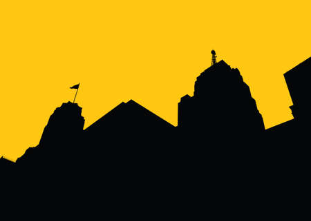 Skyline silhouette of the city of Detroit, Michigan, USA. Vector