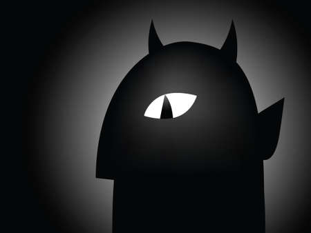 sinister: Shadowy cartoon silhouette of a devil with sinister eye.