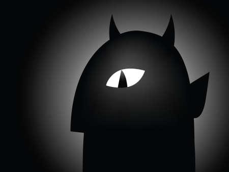 shadowy: Shadowy cartoon silhouette of a devil with sinister eye.