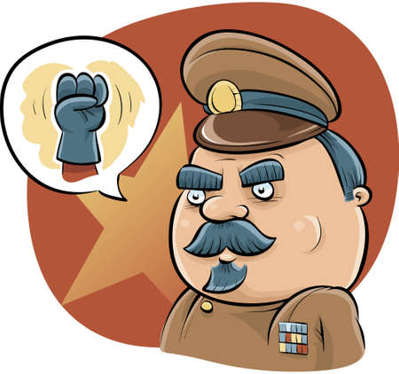 tough: A cartoon dictator talks tough with a fist.