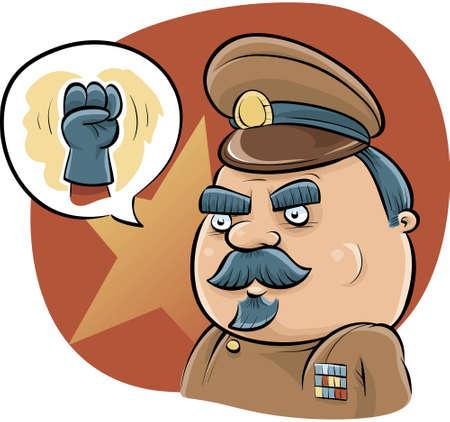 A cartoon dictator talks tough with a fist.