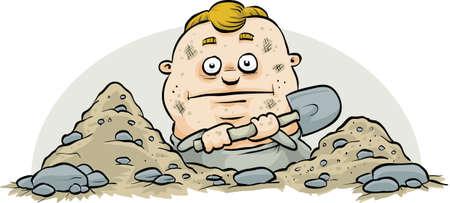 digging: A cartoon man digging a hole with a shovel.