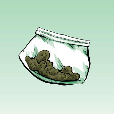 dime: A plastic cartoon dime bag filled with marijuana.