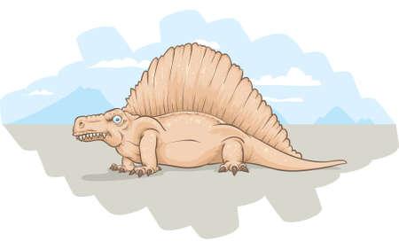 古代時から漫画イクチオサウルス。 写真素材 - 29156638