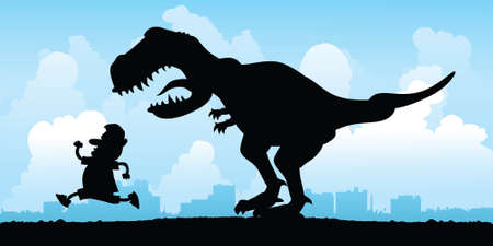 Cartoon silhouette of a man being chased by a vicious T Rex. Çizim