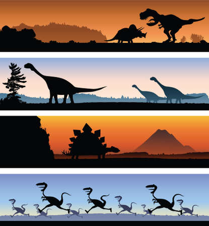 brachiosaurus: A set of four banners showing a variety of dinosaur scenes. Illustration