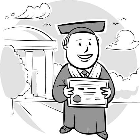 彼の卒業証書を保持している幸せな大学院です。  イラスト・ベクター素材