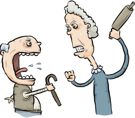 A cartoon senior man and woman argue and threaten one another. Vector
