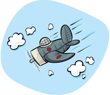 avion caricatura: Un avi�n de la historieta se sumerge a trav�s del cielo.