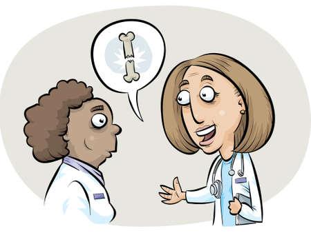 A cartoon doctor explains a broken bone.