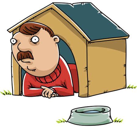 A cartoon man lying inside a doghouse.