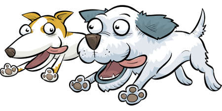 Two cartoon dogs running together.