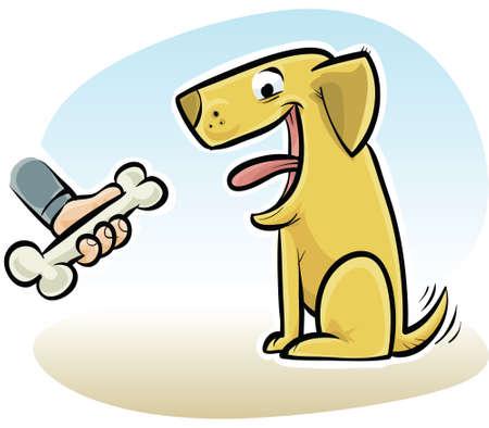 A cartoon hand offers a dog a bone.