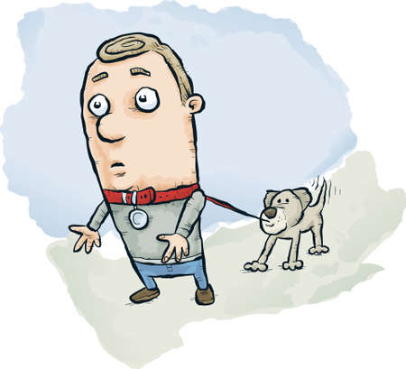 A cartoon dog taking a man out for a walk. Illustration