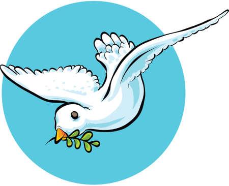paloma caricatura: Una paloma de la historieta que lleva una rama de olivo en paz.