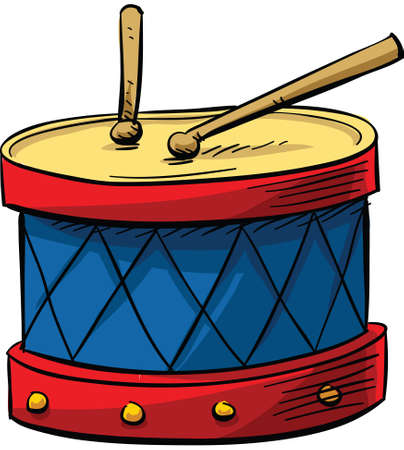 drumsticks: A cartoon drum with drumsticks. Illustration