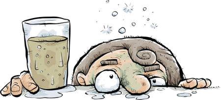 A cartoon drunk person leans their face against the bar.
