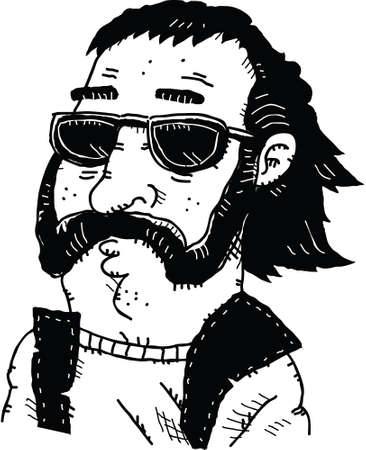 sideburns: Cartoon portrait of a cool dud wearing sunglasses.