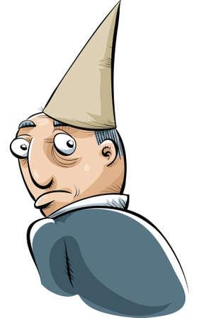 dunce cap: A cartoon man wearing a dunce cape in shame.