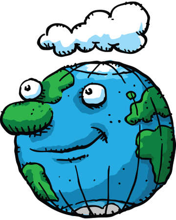 A cartoon earth character with a friendly grin.