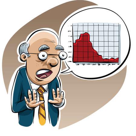economist: A pessimistic cartoon economist warms of economic trouble with a graph. Illustration