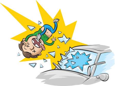 cinturon seguridad: Un hombre de dibujos animados se expulsa a través de un parabrisas de no llevar puesto el cinturón de seguridad. Vectores