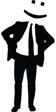 Silhouette of a businessman with a happy face emoticon for a head.