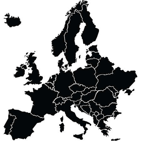 Chunky, cartoon map silhouette of Europe. Map source: http:www.lib.utexas.edumapseuropetxu-oclc-247233313-europe_pol_2008.jpgCreated in Adobe Illustrator CS3 on 4102009. Layers used: outlines. Illustration