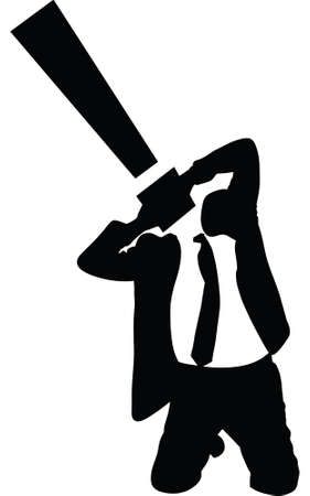 A silhouette of a businessman with an exclamation point for a head. 向量圖像