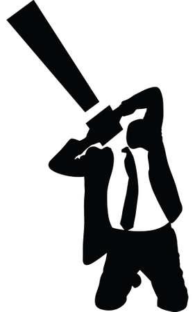 Een silhouet van een zakenman met een uitroepteken voor een hoofd. Stock Illustratie