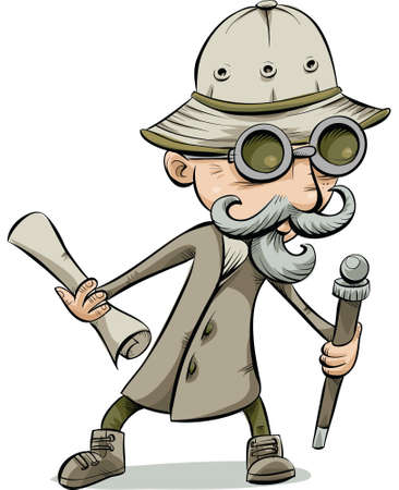 An old-fashioned cartoon explorer holding a cane and a map.