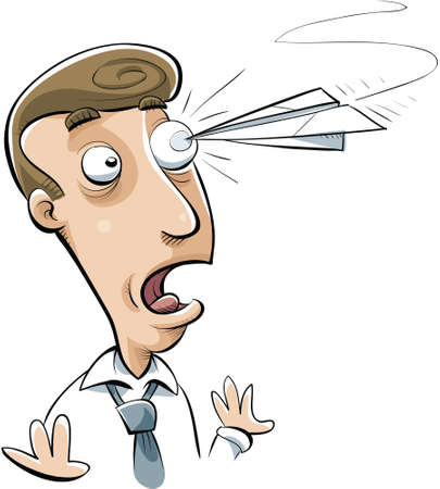 poke': A cartoon office worker poked in the eye by a paper airplane. Illustration
